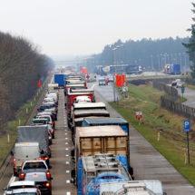 Traffic jams at Belgian border town Arendonk