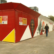 Construction wall Rabobank transformed into piece of art