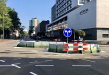 Redevelopment work in Vestdijk, Oude stadsgracht till Dommel closed, Inner city accessible.