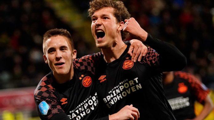 PSV winning against ADO Den Haag, wearing a Brainport Eindhoven jersey
