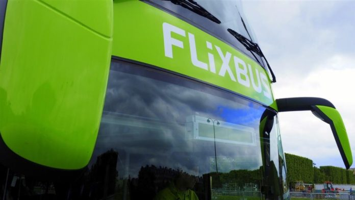 Flix bus with solar panel roof
