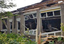 School, building, destruction, fire
