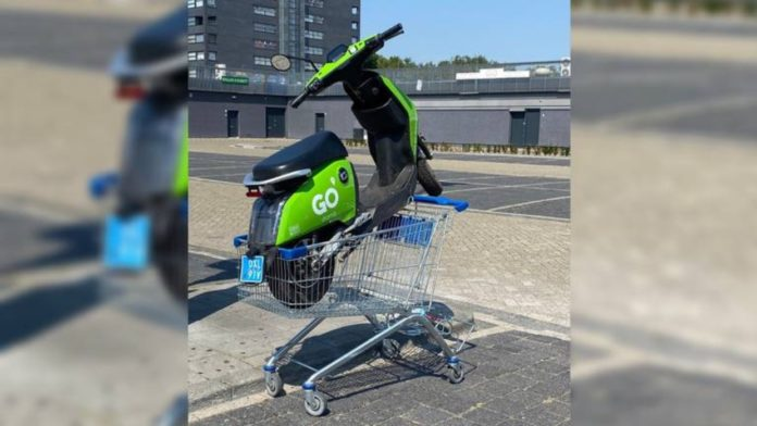 Green sharing scooters causing parking troubles