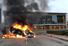 Prorail car, fire, riots