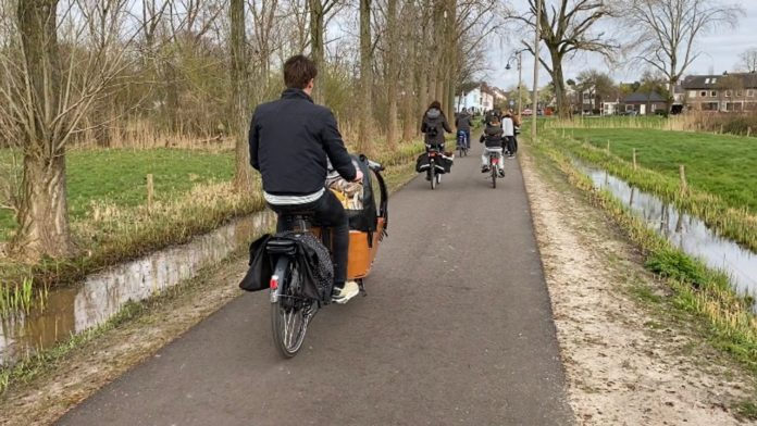 cyclists on a bicycle path